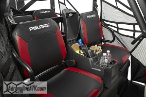 The RANGER Crew 900 has an all-new restyled cab that features a new center console with added storage and cup holders