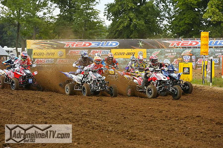 Joe Byrd led the field out of the first turn into Moto 2 at Round 9