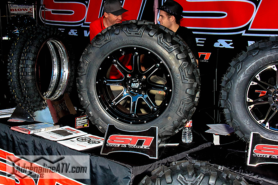 "Even if the show is geared toward the sand enthusiast, STI still came out to showcase their new 30x17"" Rocktane tire."